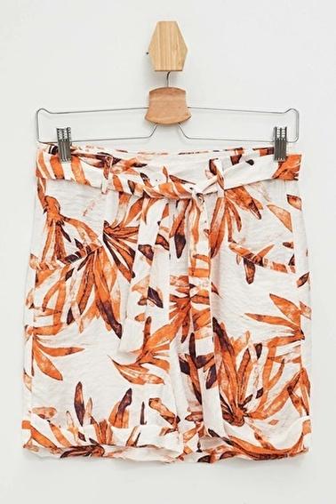 DeFacto Çiçekli Bermuda Şort Oranj